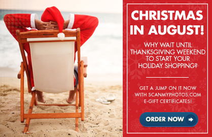 email santa beach - Christmas in August, Early ScanMyPhotos Holiday eGift Idea