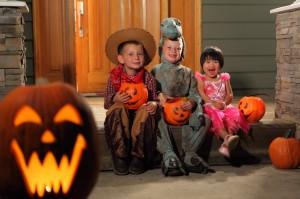 Kids and pumpkins on Halloween