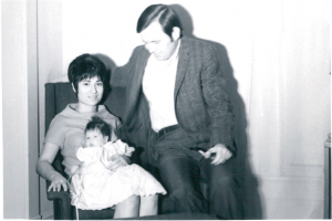 Mary with her parents in 1968.
