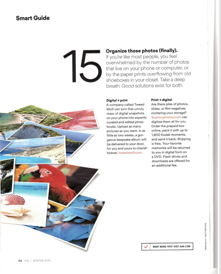 Via Magazine - AAA's Via Magazine Recommends ScanMyPhotos