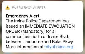 Irvine Emergency Evacuation Alert