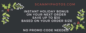 holiday30percent 300x115 - Why the most emotional 2020 holiday gift is photo scanning e-gift certificates